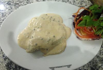 Filetto al pepe verde, secondo di carne al risotrante Le Capannelle di Milano